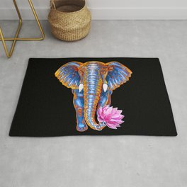 Elephant with lotus flower Rug