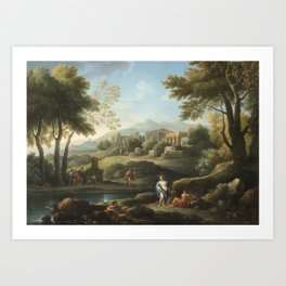 Jan Frans van Bloemen, dit l'Orizzonte   1662 - 1749   SHEPHERD IN A ROMAN LANDSCAPE Art Print