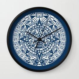 Mayan Calendar // Navy Blue Wall Clock