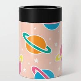 Space Planets Pattern in Pink Can Cooler