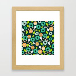 Oranges and flowers Framed Art Print