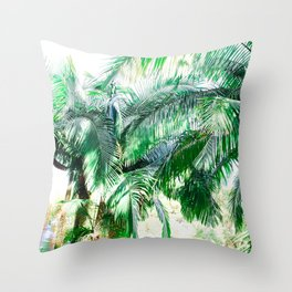 The wild shadow tropical palm tree green bright photography Throw Pillow