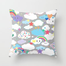 Clouds and Rainbows Kawaii Throw Pillow