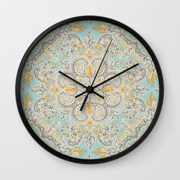 Gypsy Floral in Soft Neutrals, Grey & Yellow on Sage Wall Clock