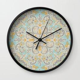 Gypsy Floral in Soft Neutrals, Grey & Yellow on Sage Wall Clock