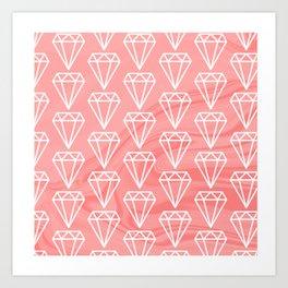 Diamond on marble pattern Art Print
