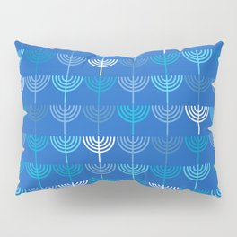 Hanukkah Chanukah Menorah Chanukkiah Pattern in Blue Pillow Sham