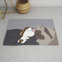 A Pit Bull and Her Kitty Rug