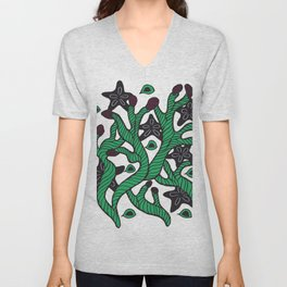Alga with sea stars and coral Unisex V-Neck