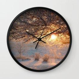 Snowy Sunrise Wall Clock