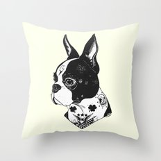 Dog - Tattooed BostonTerrier Throw Pillow