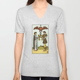 TWO OF CUPS / WHITE Unisex V-Neck