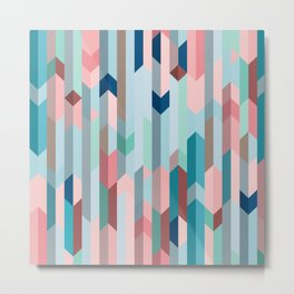 Blue & Pink Chevron Pattern Metal Print