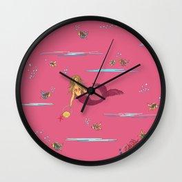 Fashionable mermaid - pink Wall Clock