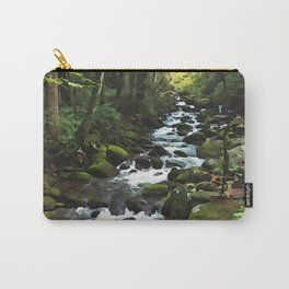 Smoky Mountains Waterfall Stream Watecolor Print Art Carry-All Pouch