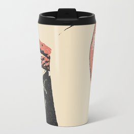Pain, pleasure and desire, bdsm, bondage, red lips, collared and tied girl Travel Mug