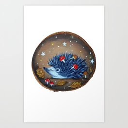 Magical Autumn Hedgehog With Forest Treasures Art Print