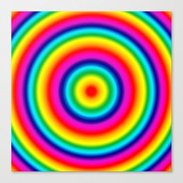Psychedelic Rainbow Circles Pattern  Canvas Print