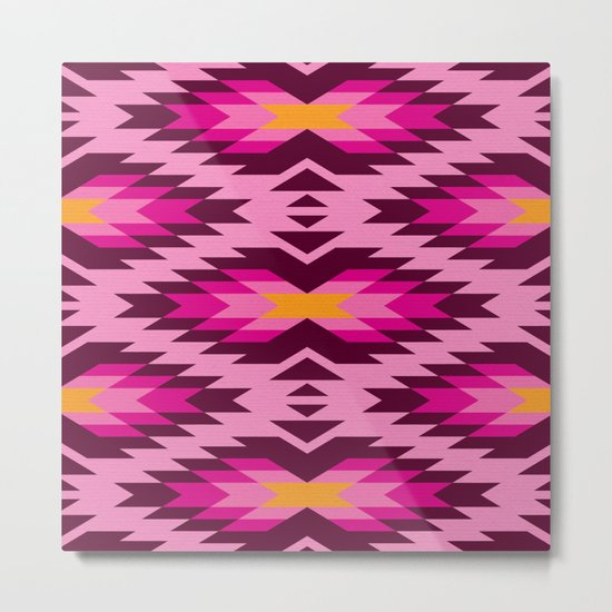 Tribal pattern - pink Metal Print