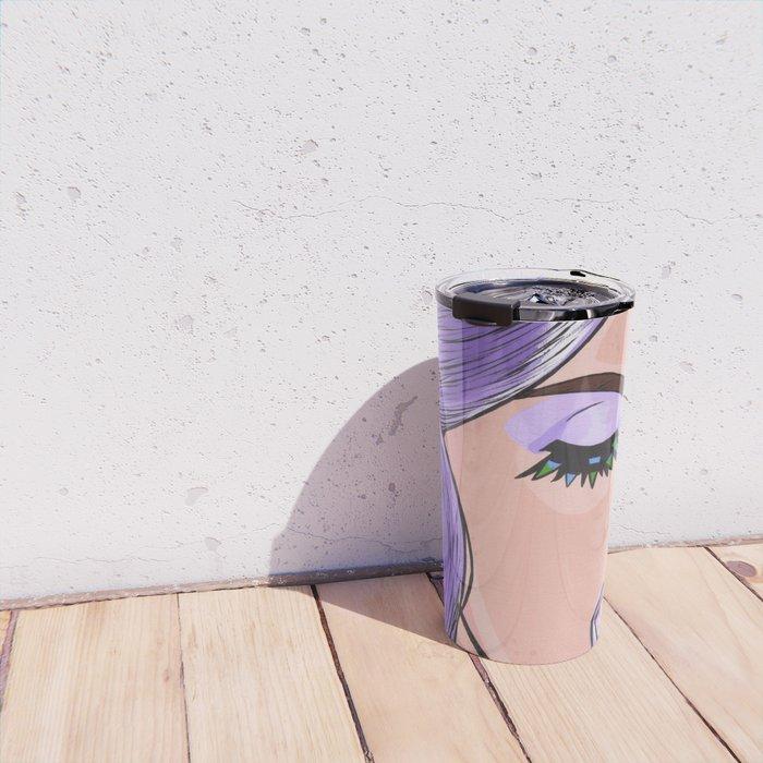 Purple Ice Cream Comic Girl Travel Mug