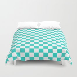 White and Turquoise Checkerboard Duvet Cover