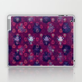 Lotus flower - wine red woodblock print style pattern Laptop & iPad Skin