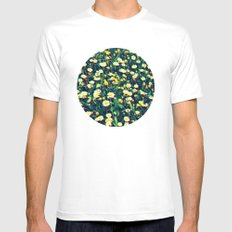 Wild Flowers White MEDIUM Mens Fitted Tee