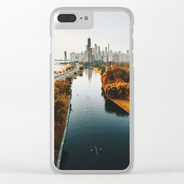 chicago aerial view Clear iPhone Case
