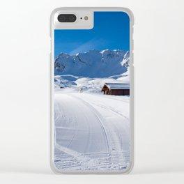 MERIBEL, FRANCE - JANUARY 2018: the white slopes in the Alps. Ski resort of Meribel, France. Sunny Clear iPhone Case