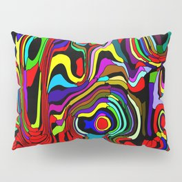 Striped interweaving of red spots from bright flowing lava and colored vertical spots. Pillow Sham