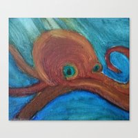 cthulu Canvas Prints featuring Octopus by Samantha Bowie