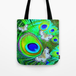 GREEN PEACOCK FEATHERS  & WHITE BUTTERFLIES FANTASY ART Tote Bag
