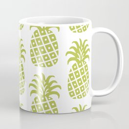 Retro Mid Century Modern Pineapple Pattern Olive Green Coffee Mug