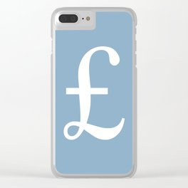 Pound currency sign on placid blue background Clear iPhone Case