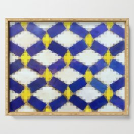 Sand and Aged Moroccan Mosaic Tiles Serving Tray