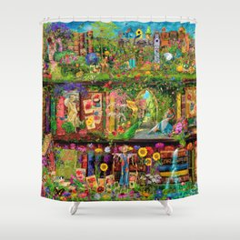 The Secret Garden Book Shelf Shower Curtain
