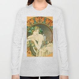 "Alphonse Mucha ""Woman with Poppies"" Long Sleeve T-shirt"
