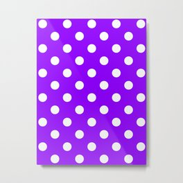 Polka Dots - White on Violet Metal Print