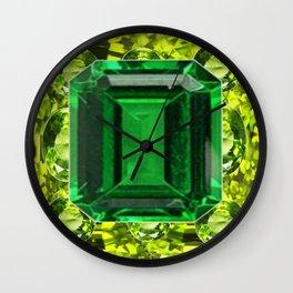 GREEN EMERALD & PERIDOT GEMS VINETTE Wall Clock