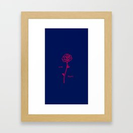 Dying quickly rose on blue Framed Art Print