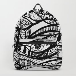 Hand painted black white watercolor abstract floral Backpack