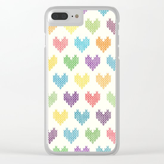 Colorful Knitted Hearts II Clear iPhone Case
