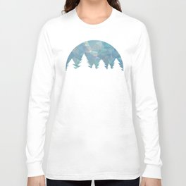 Northern Lights in winter forest in geometrical style Long Sleeve T-shirt