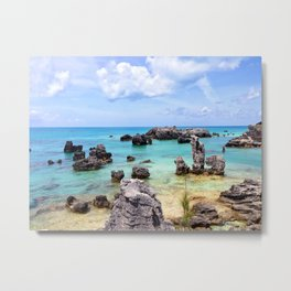 Stunning Bermuda Landscape - Rocks, Sea, Clouds Metal Print