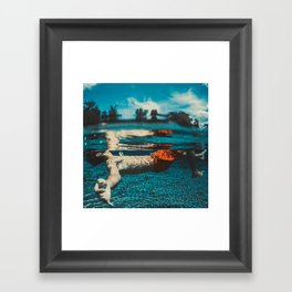 Tropical Blue Underwater Photography - Boy in Orange Shorts Framed Art Print