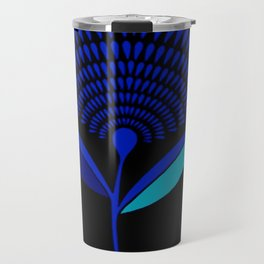Mid Century Modern Dandelion Seed Head In Princess Blue Travel Mug
