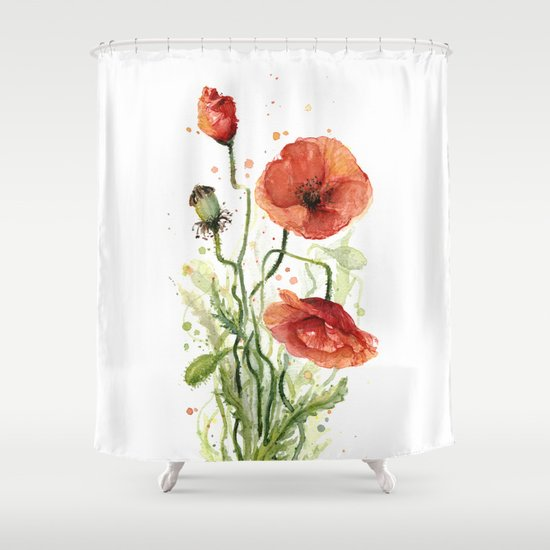 Red Poppies Watercolor Flower Floral Art Shower Curtain By