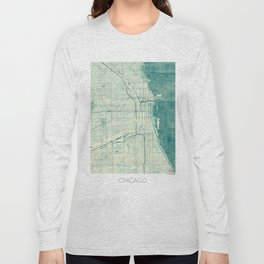 Chicago Map Blue Vintage Long Sleeve T-shirt