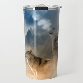 Howling Wolves Moonlight Wolf Wild Animals Moon Travel Mug