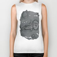 outer space Biker Tanks featuring Outer Space Shark by Pink Shark Scales